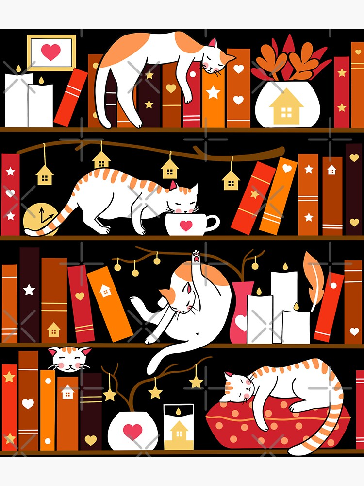 Library cats - cherry red by Elenanaylor