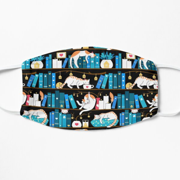 Library cats - ocean blue Flat Mask