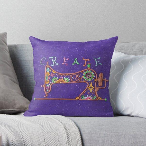 Create - Sewing Machine Art Throw Pillow