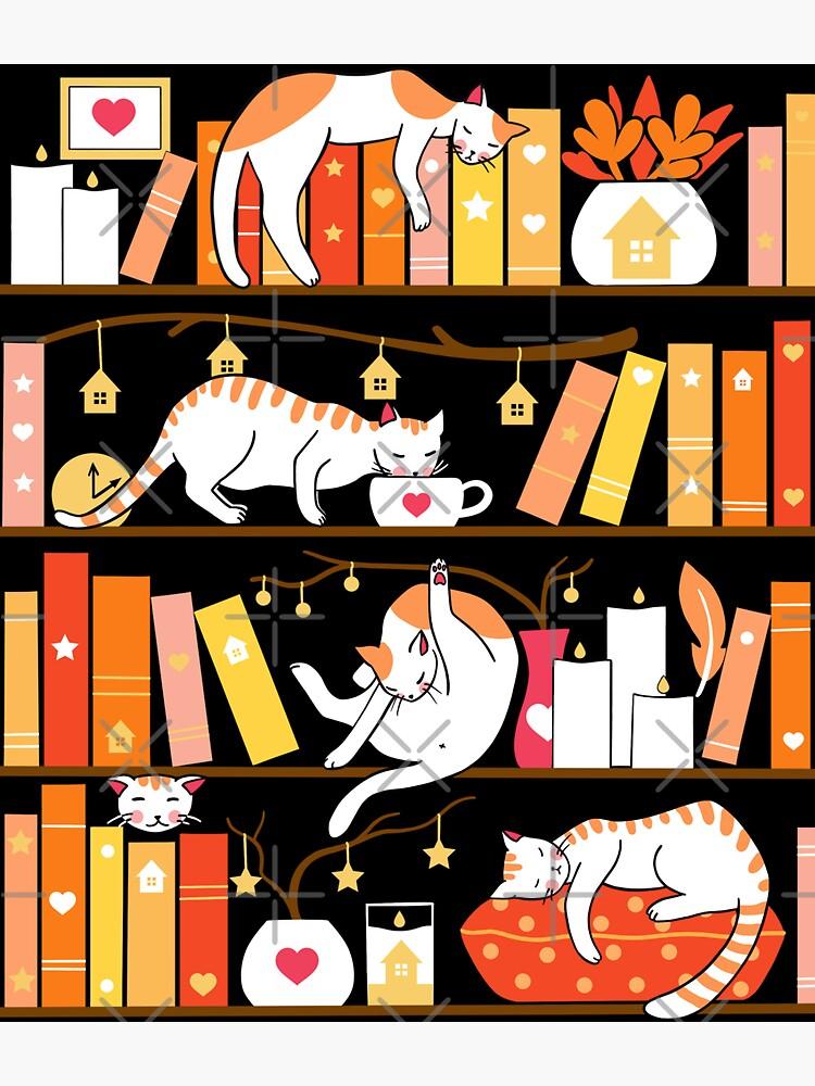 Library cats - warm marigold  by Elenanaylor