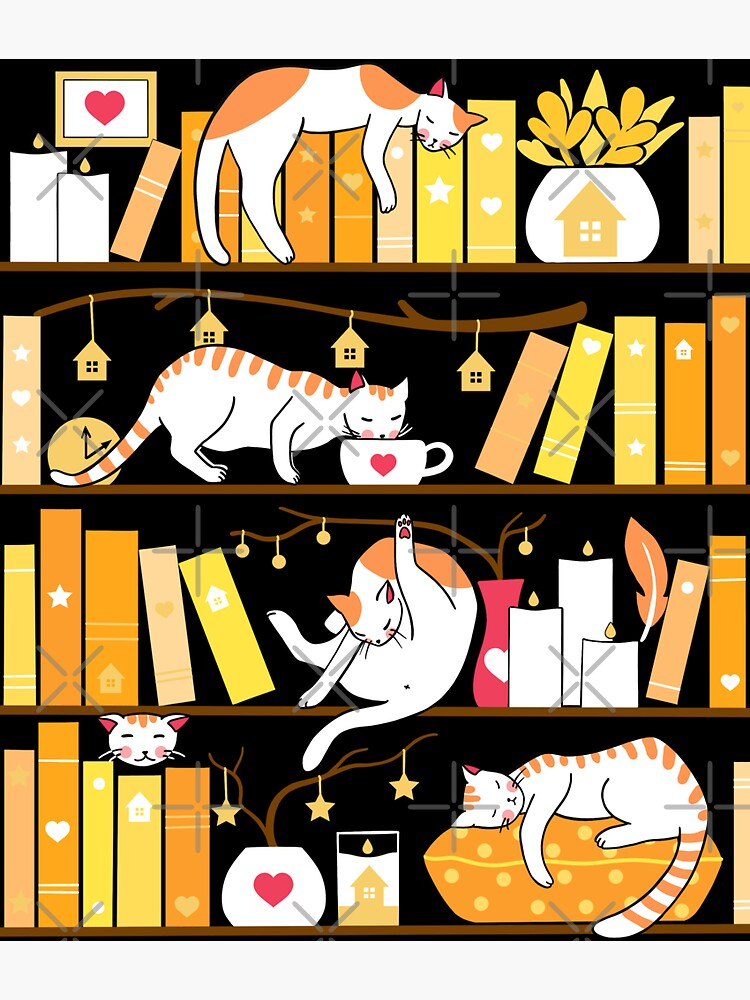 Library cats - golden sunshine by Elenanaylor