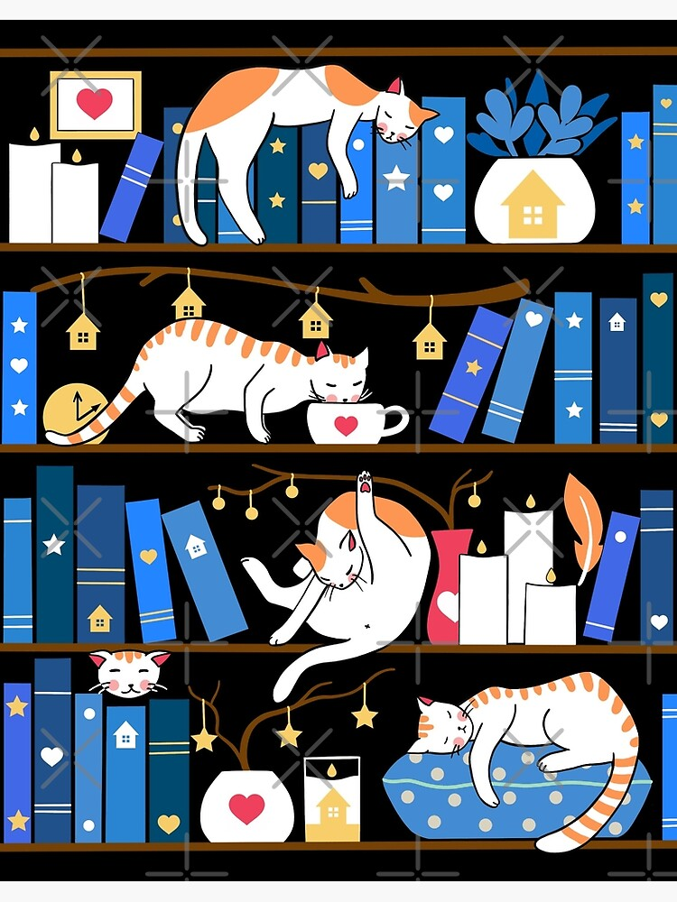 Library cats - midnight blue by Elenanaylor