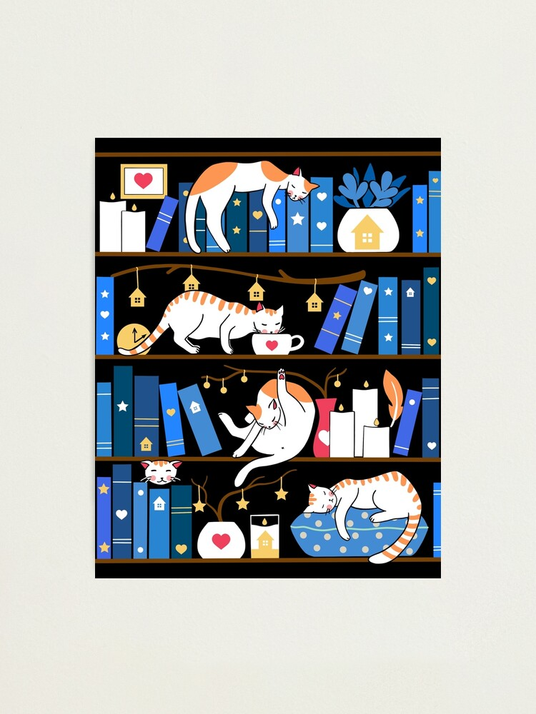 Alternate view of Library cats - midnight blue Photographic Print
