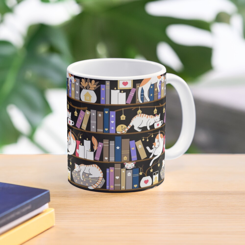 Library cats - fossil grey Mug
