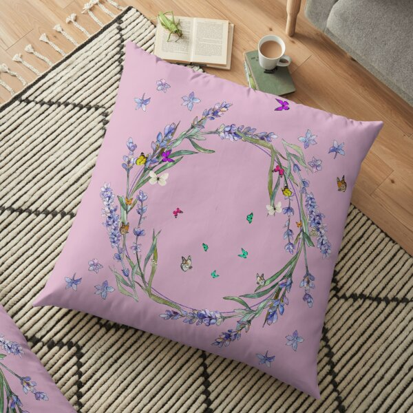 Watercolor Lavender And Butterflies on a pink lavender background Floor Pillow