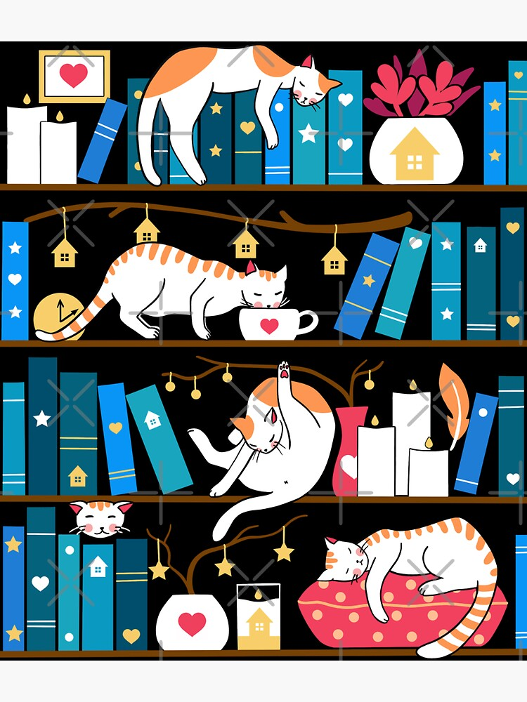 Library cats - ocean blue and raspberry red by Elenanaylor
