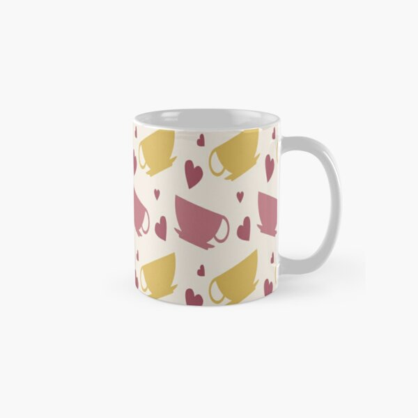 Coffee Cup and Heart Pattern Classic Mug