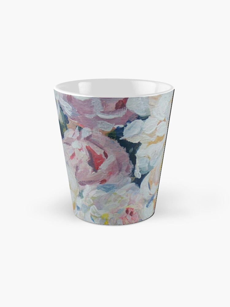 Alternate view of A floral bouquet painting of white, cream and pink peonies.  'Serenity' painted on canvas Mug