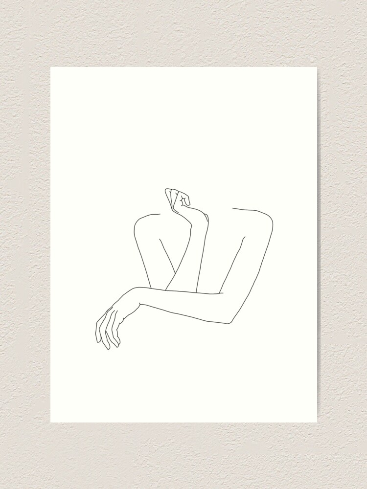 Alternate view of Folded arms line drawing - Anna Art Print