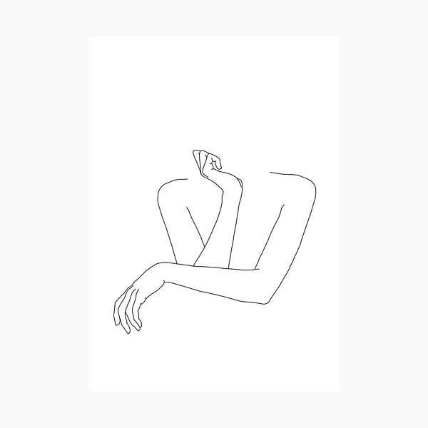 Folded arms line drawing - Anna Photographic Print