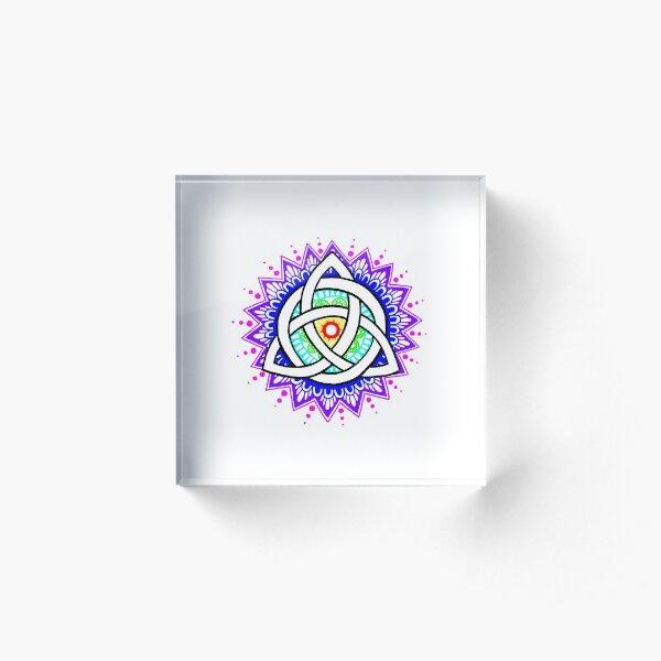 Trinity Knot Colour Mandala Acrylic Block