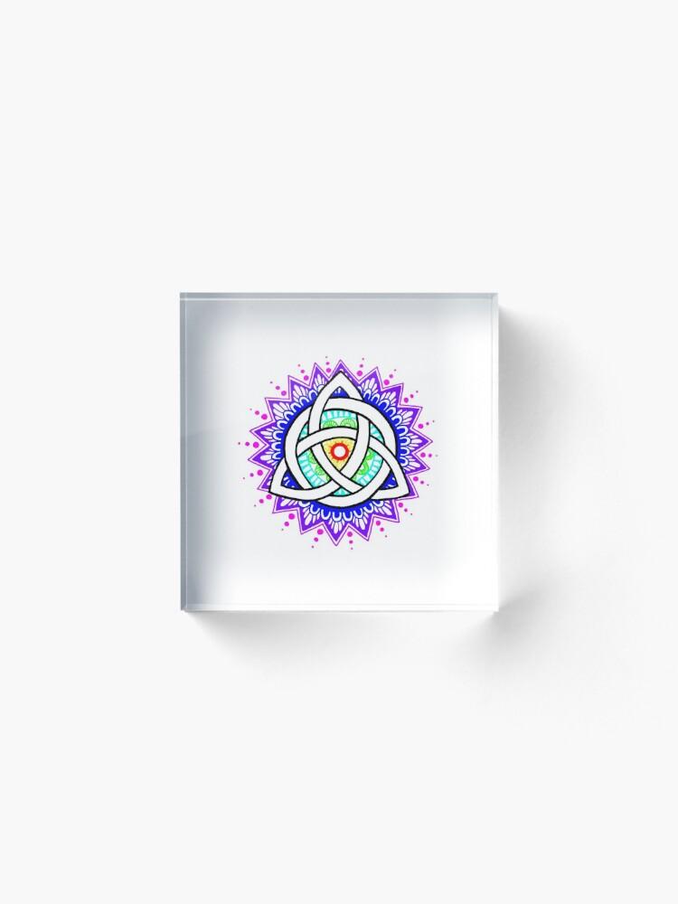 Alternate view of Trinity Knot Colour Mandala Acrylic Block