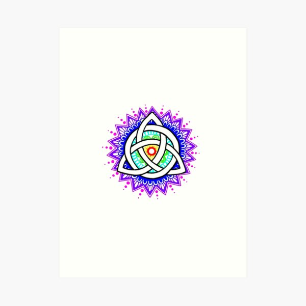 Trinity Knot Colour Mandala Art Print