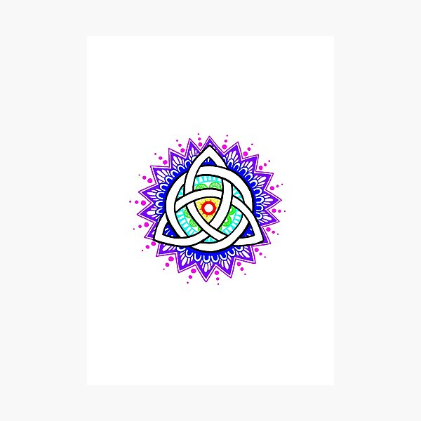 Trinity Knot Colour Mandala Photographic Print
