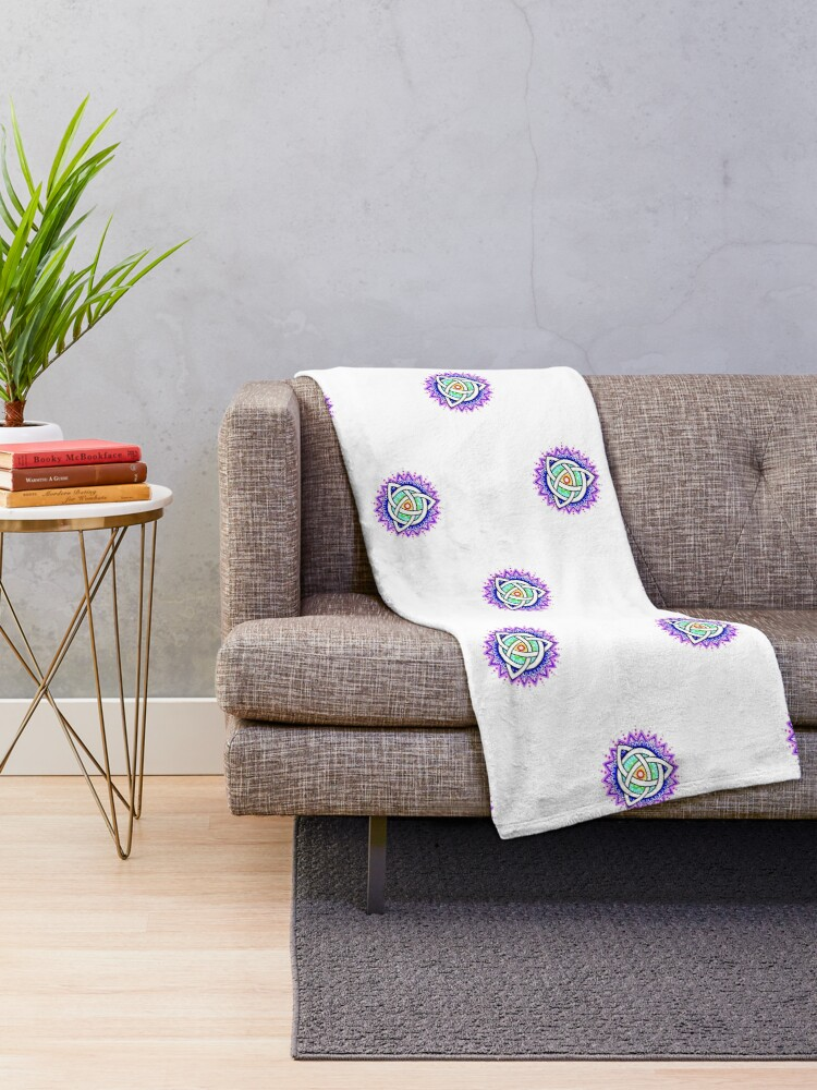Alternate view of Trinity Knot Colour Mandala Throw Blanket