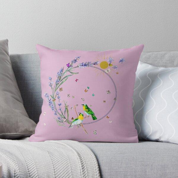 Lavender Butterflies and birds Throw Pillow