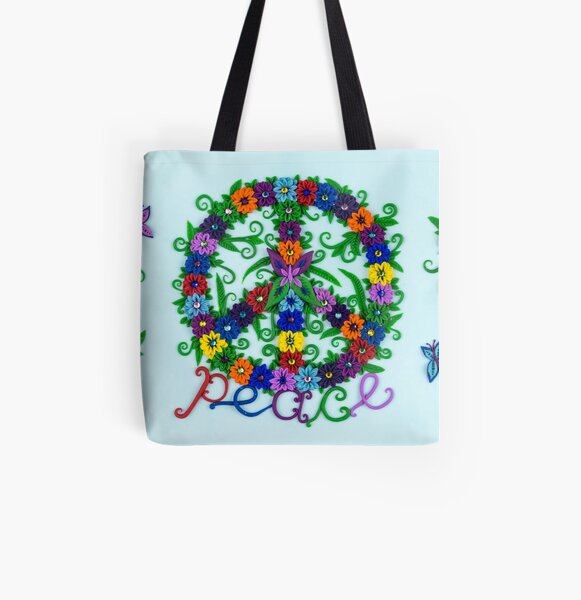 Peace Sign - Flower Power All Over Print Tote Bag