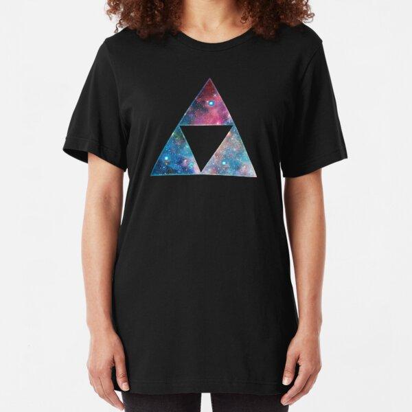 Triforce, Ancient Magical Symbol, Sierpinski Triangle, Galaxy Slim Fit T-Shirt