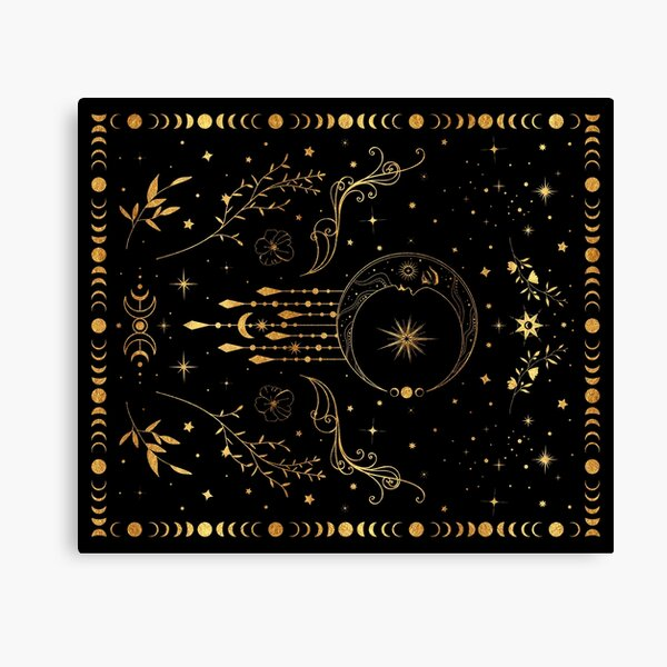 Celestial crescent moon with floral accents and moon phase Canvas Print