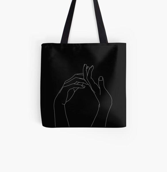 Hands one line illustration - Abi Black All Over Print Tote Bag