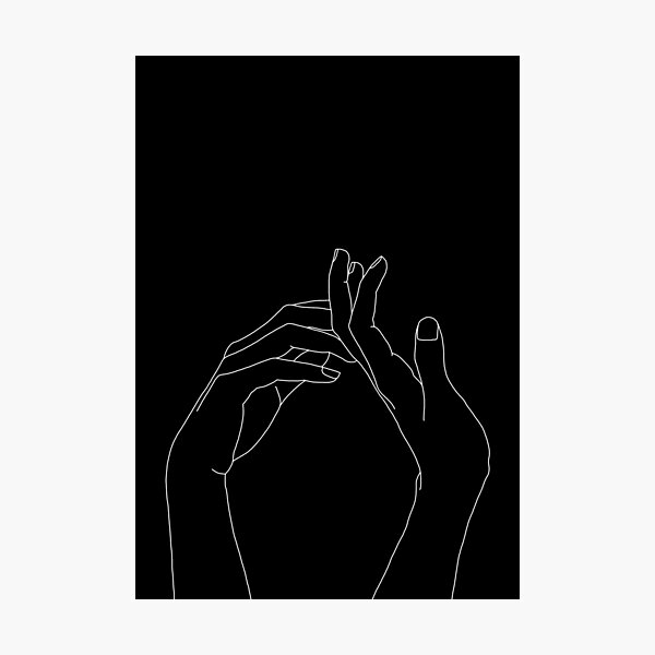 Hands one line illustration - Abi Black Photographic Print