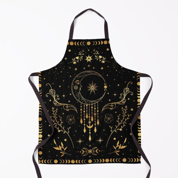 Celestial crescent moon with floral accents and moon phase Apron