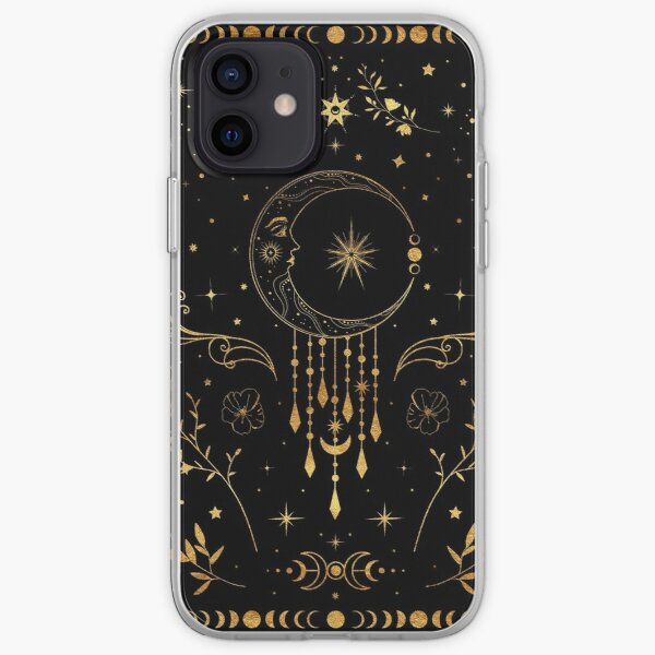 Celestial crescent moon with floral accents and moon phase iPhone Soft Case