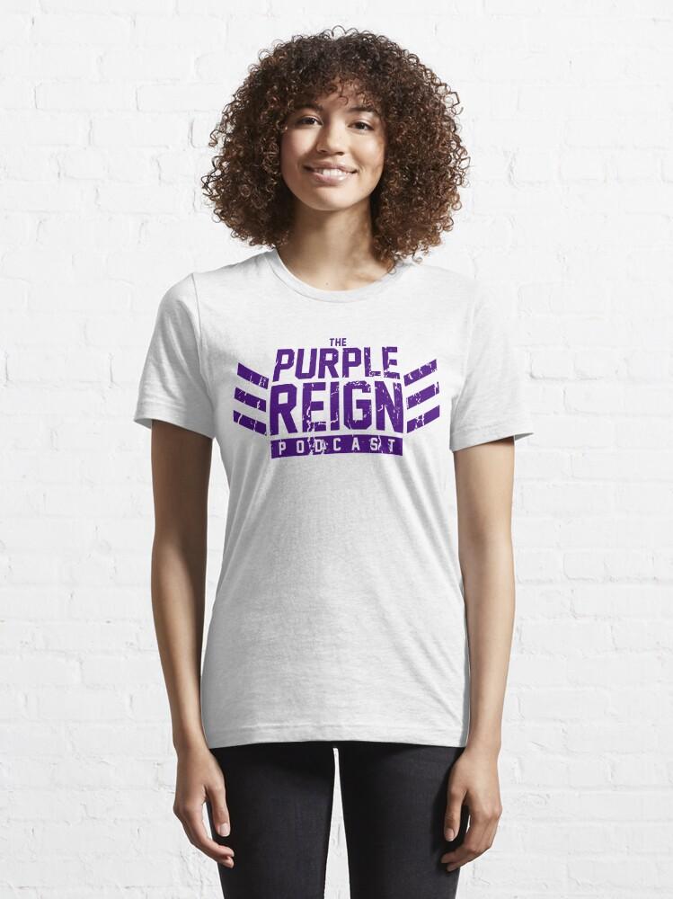 Alternate view of Distressed Dockers (purple print) Essential T-Shirt
