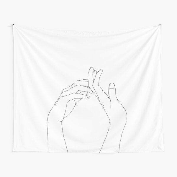 Woman's hands line drawing - Abi Tapestry