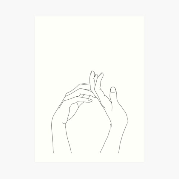 Woman's hands line drawing - Abi Art Print