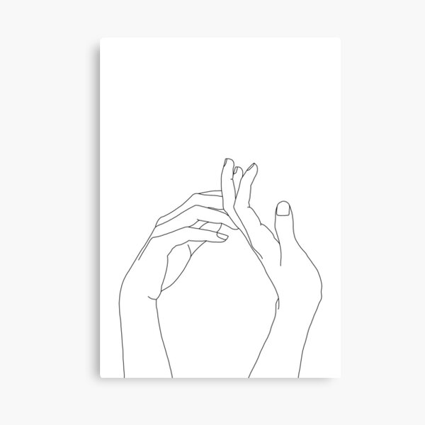 Woman's hands line drawing - Abi Canvas Print