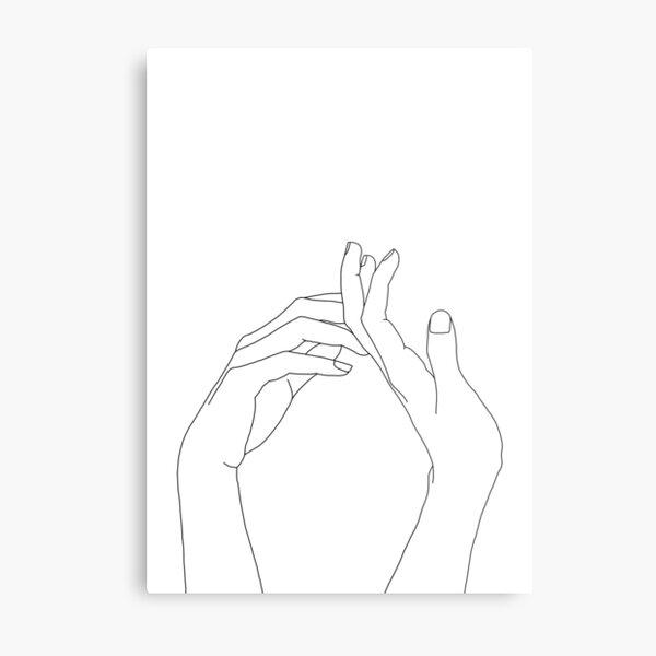 Woman's hands line drawing - Abi Metal Print