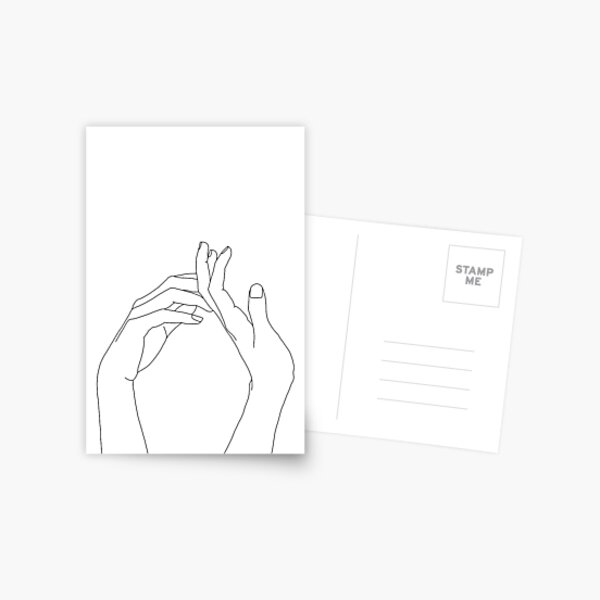Woman's hands line drawing - Abi Postcard