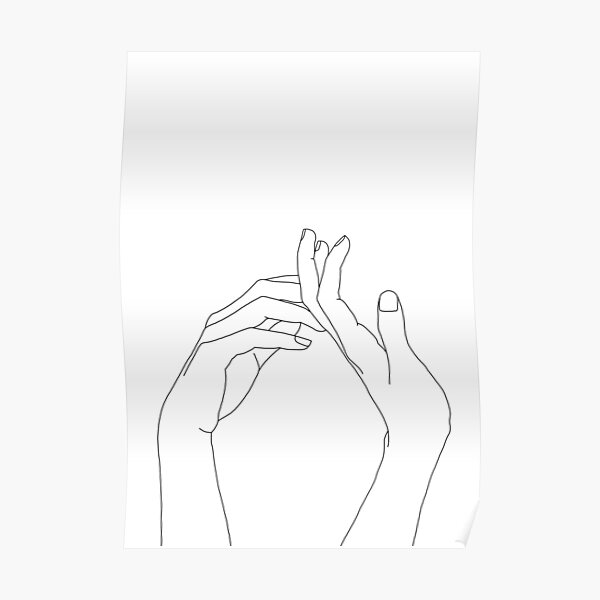 Woman's hands line drawing - Abi Poster