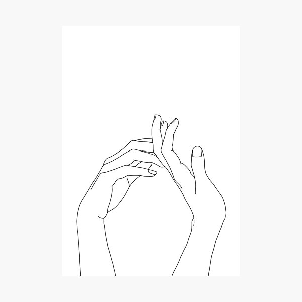 Woman's hands line drawing - Abi Photographic Print