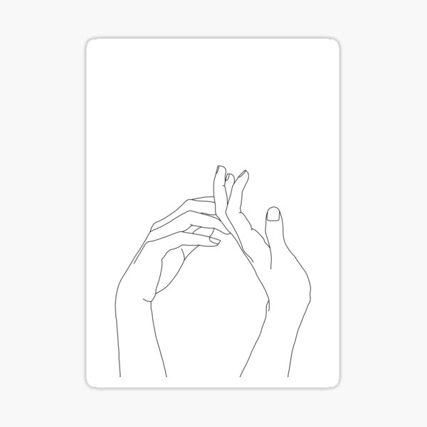Woman's hands line drawing - Abi Sticker
