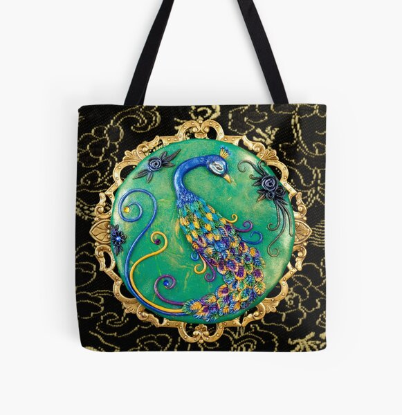 New Years Inspiration Black - Peacock Art All Over Print Tote Bag