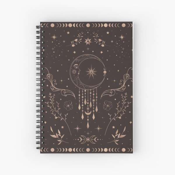 Celestial crescent moon with floral accents and moon phase Spiral Notebook