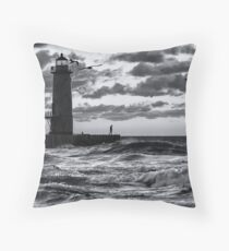 Danger at the Lighthouse - Manistee Michigan Sunset Throw Pillow