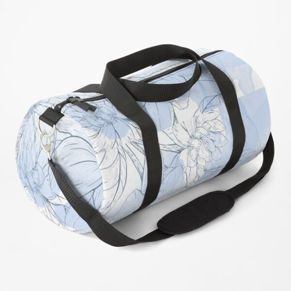 Blue flower with silver elements Throw Blanket Duffle Bag