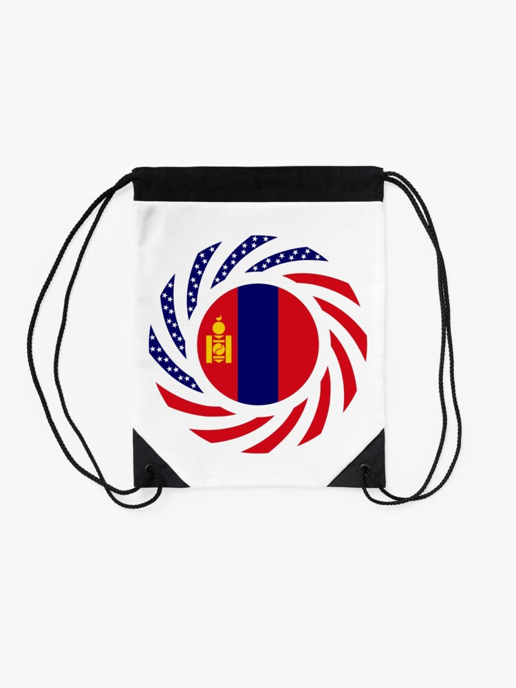 Alternate view of Mongolian American Multinational Patriot Flag Series Drawstring Bag