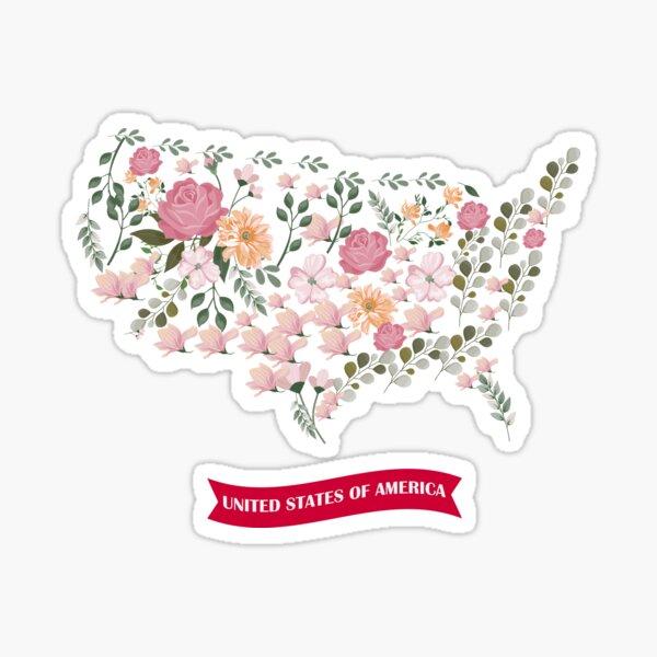 America map Flowers Sticker