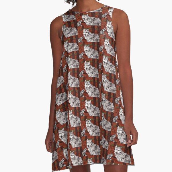 Ink Wolf A-Line Dress