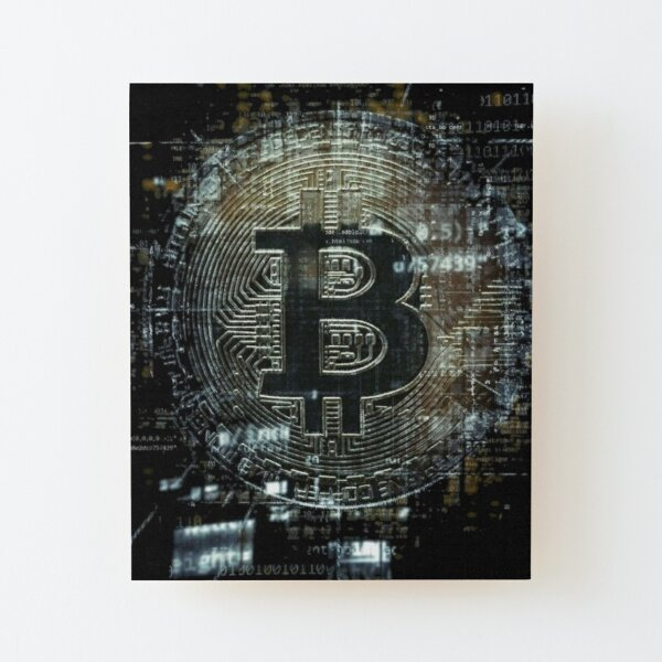 Tecno criptomoneda bitcoin Lámina montada de madera