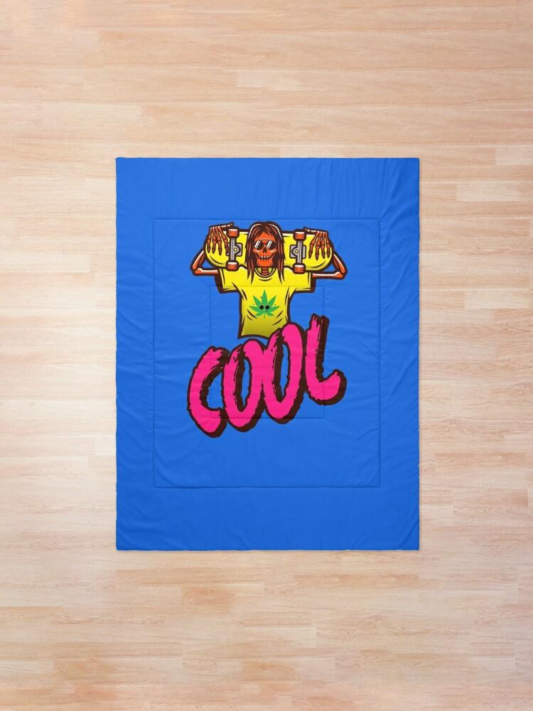 Alternate view of Cool Skeleton Skater With a Marijuana T-shirt Comforter
