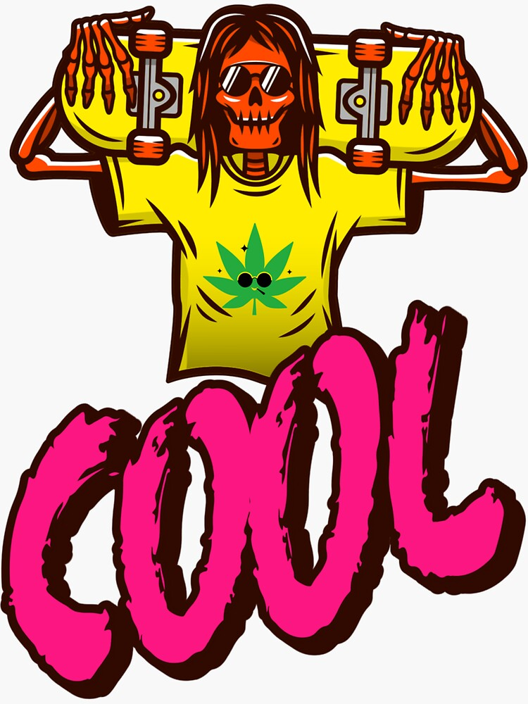 Cool Skeleton Skater With a Marijuana T-shirt by ds-4