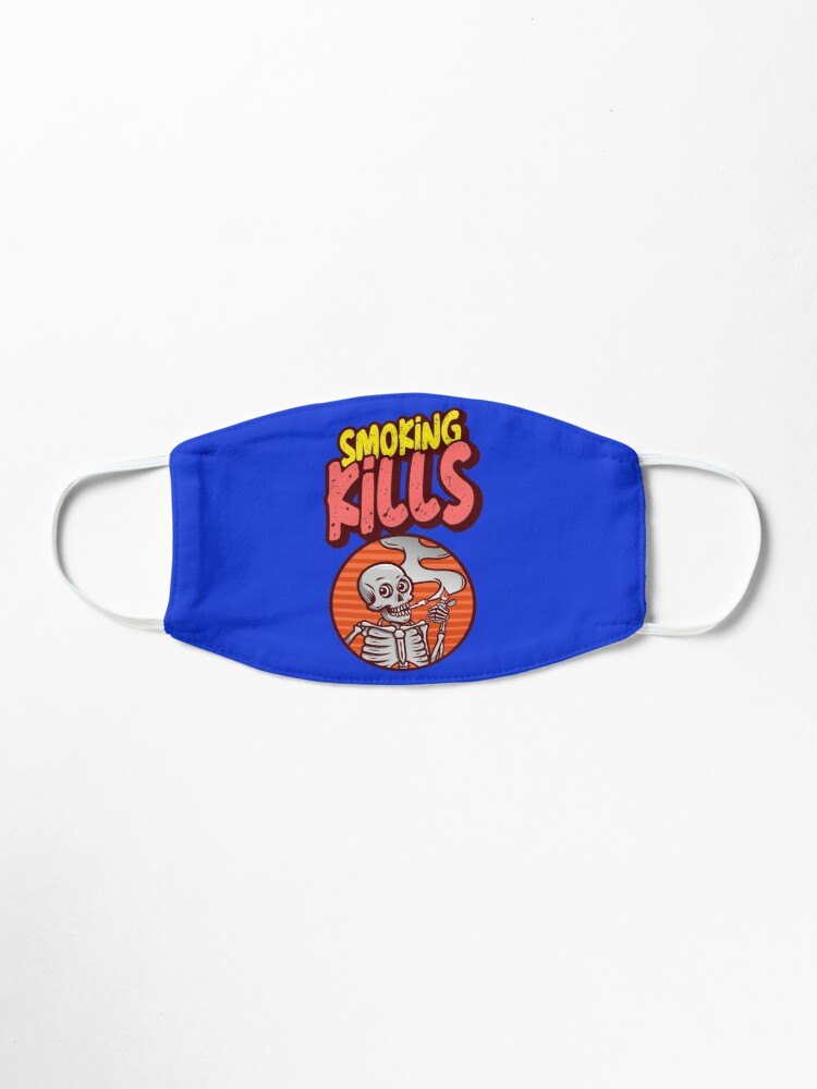 Alternate view of smoking kills face mask and stickers Mask