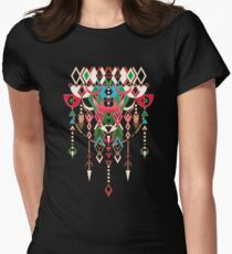 Modern Deco in Red and Black  Womens Fitted T-Shirt
