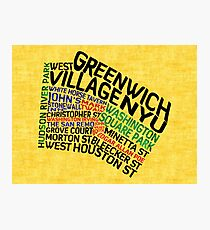 Typographic Greenwich Village Map, NYC Photographic Print