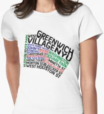 Typographic Greenwich Village Map, NYC Womens Fitted T-Shirt